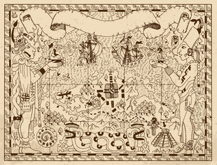 Old mayan, aztec or pirate map with two gods on paper background