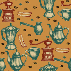 Coffee seamless pattern vintage vector