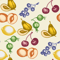 Fruit seamless pattern vintage ink hand drawn vector