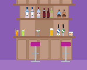 Vector illustration of alcoholic and nonalcoholic drinks on the bar. Social night life.