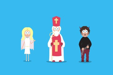Saint Nicholas with angel and devil. Cartoon vector charaters. December holidays.