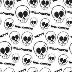 Black and white seamless skulls pattern with text happy halloween. Vector art illustration.