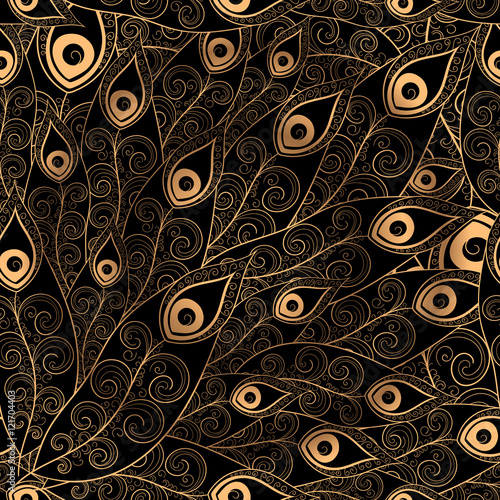 Gold Black Feathers Pattern Seamless Golden Peacock Feather Vector Print For Design Invitation Card