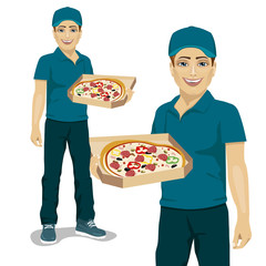 Pizza delivery courier in blue uniform offering pizza in box