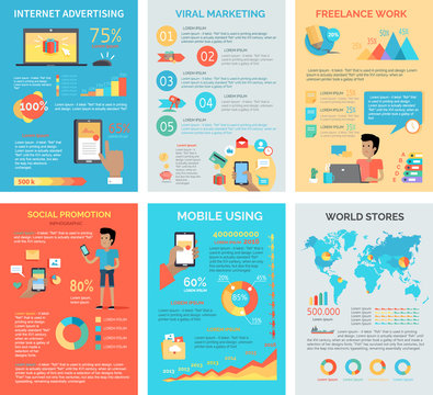 Set of Internet Technology Infographic Templates.