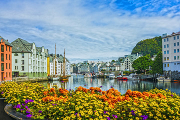 Printed kitchen splashbacks City on the water Seafront of town and sea port Alesund, Norway.