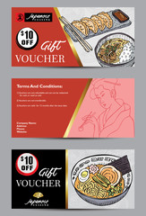 Banners template with hand drawn Japanese food. Vector illustration. Abstract background.