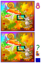 Exercises for young children - need to find 8 differences. Logic puzzle. Developing skills for counting. Vector cartoon image.