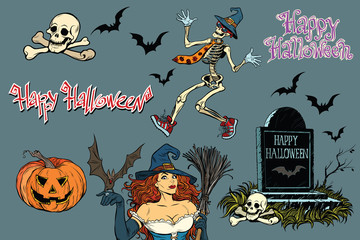 Happy Halloween a collection of characters. Stickers skeleton, g