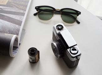 sunglasses, camera and film vintage stye
