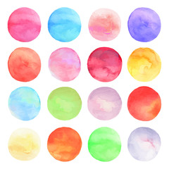Vector set drawn watercolor. Round shapes background.