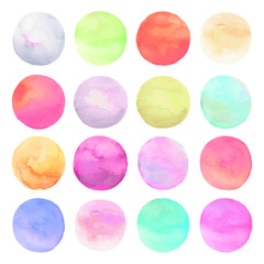 Vector set drawn watercolor. Isolated colorful round shapes back