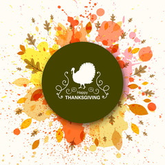 Vector Illustration of an Ornamental Thanksgiving Background Design with Autumnal Leaves and Watercolor Splashes