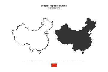 People's Republic of China isolated map and official flag icons. vector Chinese political maps illustration. Asian country geographic banner design. travel and business concept map