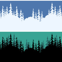 Set Seamless Horizontal Backgrounds, Landscapes, Fir Trees Silhouettes, Winter White on Blue Sky for Christmas Holiday and Summer Night Black on Green. Vector