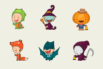 Kids in Halloween costume, Cute character design, Vector illustration.
