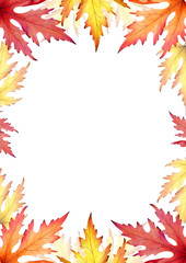 Frame of autumn maple leaves. Template. Watercolor