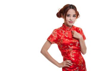 Asian girl in chinese cheongsam dress.