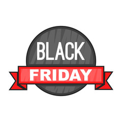 Black Friday sale icon in cartoon style isolated on white background vector illustration