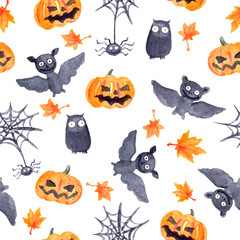 Halloween seamless pattern - pumpkin, bat, owl. Cute naive watercolor