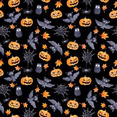 Halloween seamless pattern - pumpkin, bat, owl. Cute naive watercolor