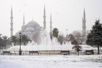 Winter fountain in the square near the mosque of Aya Sofia