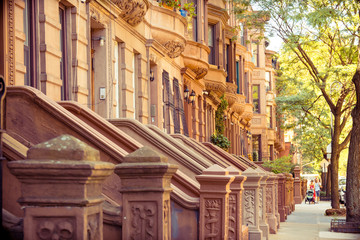 traditional brownstone lined home at harlem, new york