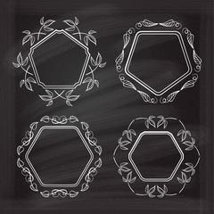 Vintage frames set on the chalkboard.
