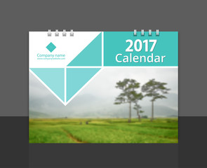 "Cove design calendar 2017 template vector for corporate business. size 8""x6"" horizontal. EPS-10 sample image with Gradient Mesh."