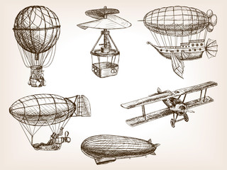 Air transport vintage hand drawn sketch vector