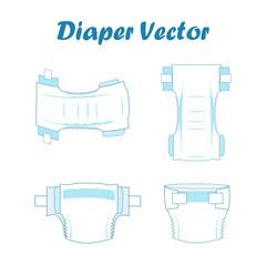 Baby absorbent diaper set. Vector illustration