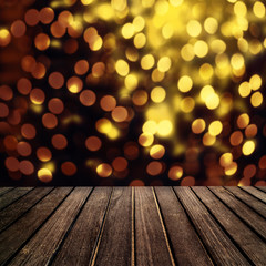 Abstract Christmas table background - Beautiful wood board table