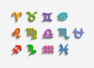 Vector. Zodiac Symbol icons set. Added Ophiuchus