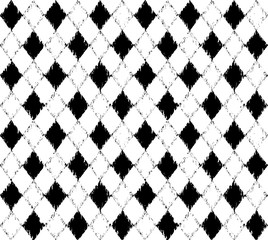 Black and white pattern with grunge rhombuses