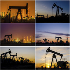 Oil rig, derrick, wellhead, refinery during sunset in the oilfield.