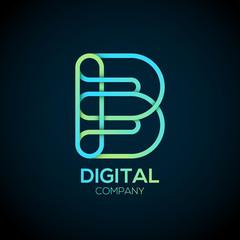 Letter B Logo Design.Linked shape circle symbol,Digital,green blue