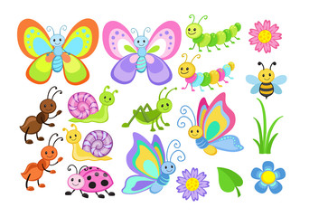 Vector Set of Cute Cartoon Bugs