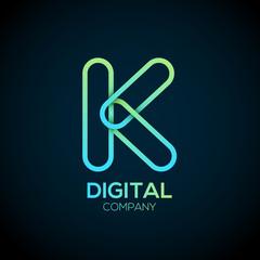 Letter K Logo Design.Linked shape circle symbol,Digital,green blue