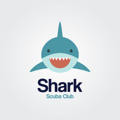 Shark logo template. A cute shark front face in flat design for Diving and Snorkeling equipment shop, diving School or scuba club.