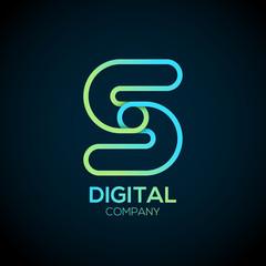 Letter S Logo Design.Linked shape circle symbol,Digital,green blue