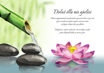 Background of a spa and relax with lotus and massage stones. Watercolor template