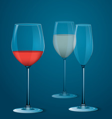 Vector illustration of wineglasse with wine.