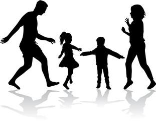 Family silhouettes .