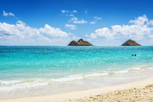 Mokulua Islands as seen from Lanikai Beach in Oahu, Hawaii