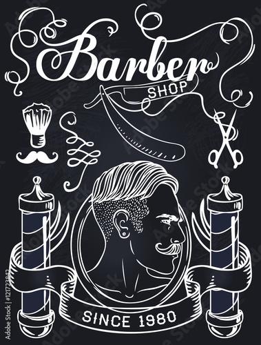 Hipster barber shop business card design template stock image and hipster barber shop business card design template wajeb Choice Image