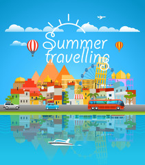 Summer travelling concept. Asia cityscape Vector travel illustra