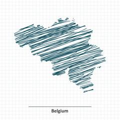 Doodle sketch of Belgium map