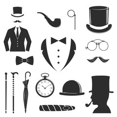 Hipster vector design set fashion hipster label. Retro people old mustache vintage style beard gent icons. Barber gent icons trend funny mister gentleman party black vector silhouette.