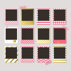Realistic vector retro photo frames with gold, pink and white pa