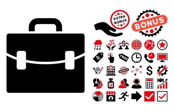 Case icon with bonus design elements. Vector illustration style is flat iconic bicolor symbols, intensive red and black colors, white background.